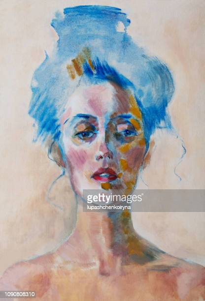 fashionable illustration modern art work my original oil painting on canvas beautiful woman with hairstyle in retro style impressionism portrait - classical style stock illustrations