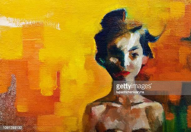 modische moderne illustrationskunst arbeiten meine original ölgemälde auf leinwand im impressionismus stil sommer portrait eines mädchens von orientalischen aussehen mit schwarzen langen hai - kunst, kultur und unterhaltung stock-grafiken, -clipart, -cartoons und -symbole