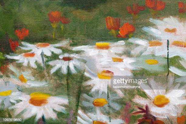 Fashionable illustration modern art work my original oil painting on canvas horizontal summer landscape blooming white field daisies