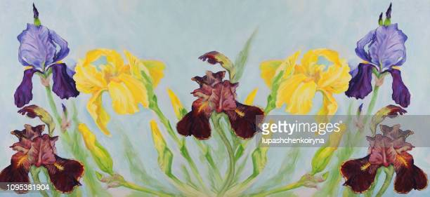 Fashionable illustration modern art work my original oil painting on canvas impressionism horizontal spring  still life flowers three irises of different shades