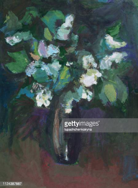 fashionable illustration modern art work my original oil painting on canvas impressionism spring still life vertical bouquet of bird cherry branches in a vase of dark glass - impressionism stock illustrations