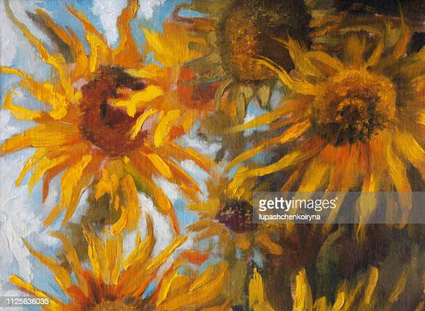fashionable illustration modern art work my original oil painting on canvas impressionism summer landscape blooming yellow helianthus annuus on a field against the sky and clouds - paintings stock illustrations