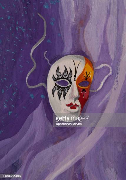 fashionable illustration modern art work my original oil painting on canvas symbolism vertical landscape bright theatrical carnival mask - actor stock illustrations