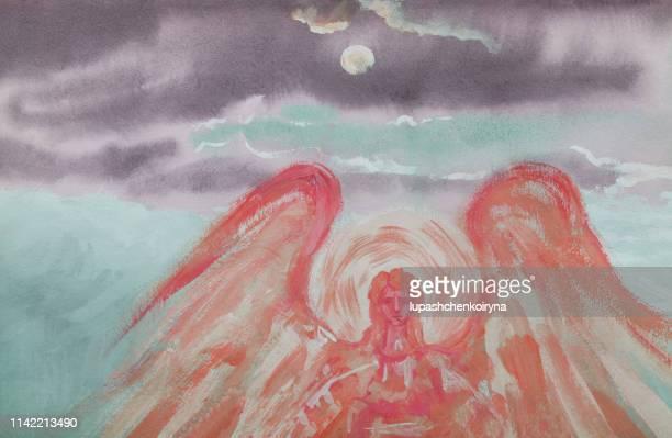 おしゃれなイラストの現代美術作品私のオリジナルの油絵キャンバス寓話水平風景雲と太陽と光天使の輝く日差しと空のパノラマ