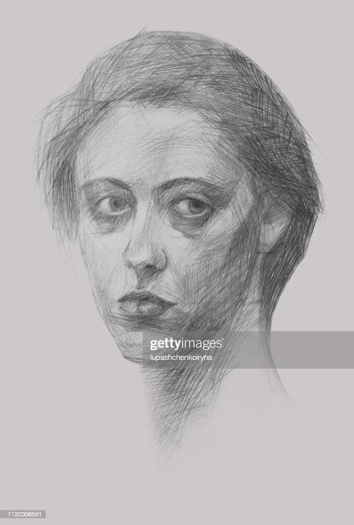 Fashionable illustration modern art work my original pencil drawing on paper vertical portrait impressionism face of a young beautiful determined purposeful bold free girl with long hair and bright eye : stock illustration