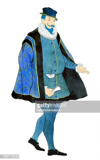 Fashionable illustration modern art work my original watercolor painting historical portrait figure of a male aristocrat in a suit and baroque style hat