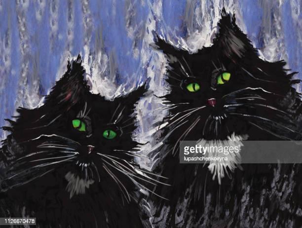 Fashionable illustration modern artwork impressionism my original painting gouache acrylic  horizontal portrait of a couple black domestic cat with green eyes
