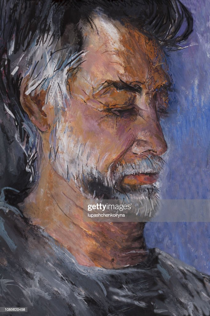 Fashionable Illustration Modern Artwork My Original Oil Painting On Canvas Fantasy Portrait Profile Grayhaired Man Storyteller Creator With A Beard In Black Clothes High Res Vector Graphic Getty Images