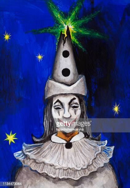 Fashionable illustration modern artwork my original oil painting on canvas carnival vertical symbolic portrait of an actor in theatrical makeup of the fairy tale character Piero in a white headdress and stage costume