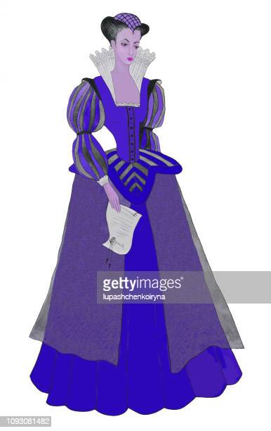 Fashionable illustration modern artwork on a historical theme my watercolor painting on paper portrait figure of a young woman in bright blue baroque clothes with a letter in her hand