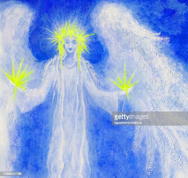 おしゃれなモダンな神聖な仕事のイラストを手にアクリルやテンペラ クリスチャン正統宗教と星の花輪の天使の翼と元絵星します。