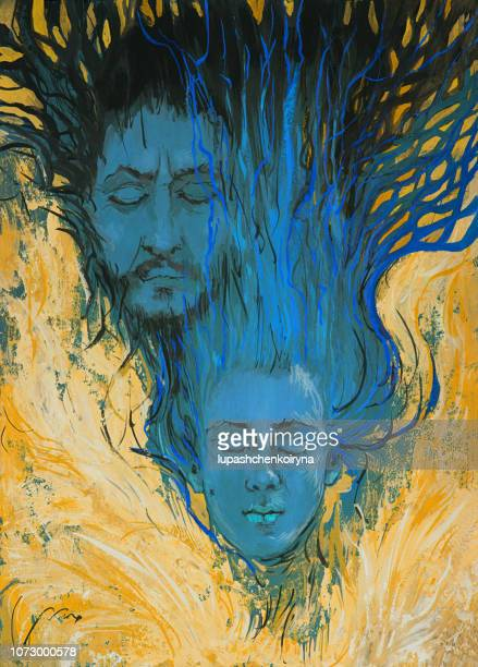 Fashionable illustration modern symbolic work of art mine oil painting on canvas pair portrait of a man and a woman in the form of angels flying in the sky with golden wing