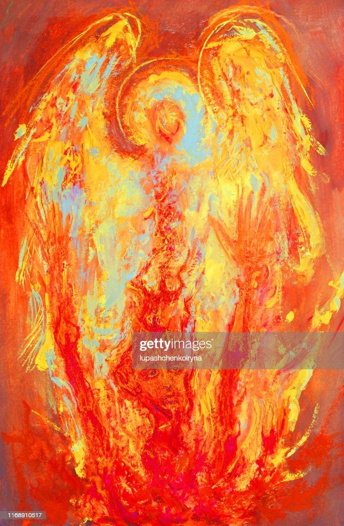 Illustration À La Mode Œuvre Moderne Dart Allégorie Sacrée Peinture  Religieuse Murale Ma Peinture À Lhuile Originale Sur La Toile Verticale  Ensoleillée Lumineux Ange Gardien Lumineux Sauver Un Homme Pécheur De Lenfer
