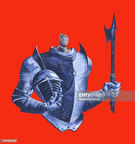 fashionable illustration modern work of art my original gouache on a historical theme men's medieval armor and halberd of metal on a mannequin - artist's model stock illustrations, clip art, cartoons, & icons