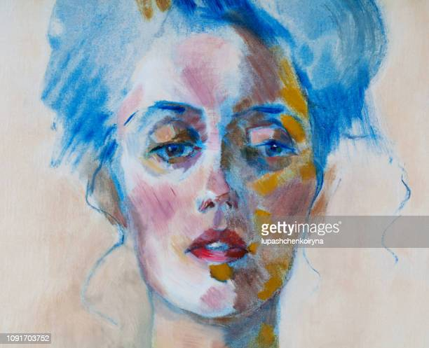 fashionable illustration modern work of art my original oil painting on canvas impressionism portrait of a beautiful woman with long hair gathered in a knot - artistic product stock illustrations
