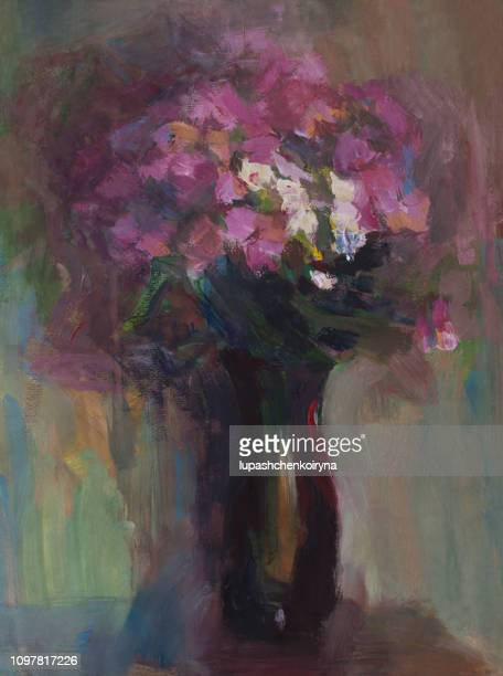 fashionable illustration modern work of art my original oil painting on canvas in the power of impressionism vertical still life flowers a bouquet of phlox in a vase of dark glass - classical style stock illustrations, clip art, cartoons, & icons