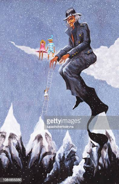 Fashionable illustration modern work of art my original painting winter festive fantastic landscape with people sitting on the clouds and snow-capped mountain peaks climbers and skiers