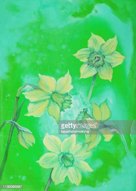 Fashionable illustration modern work of art my original painting with watercolors in green colors flowers spring still life blossoming yellow narcissus