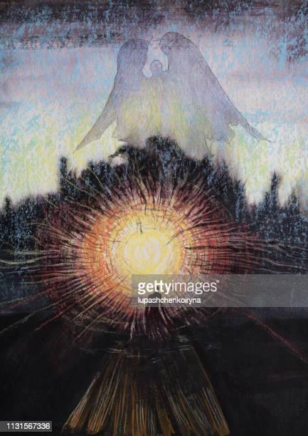 ファッショナブルなイラストの芸術の現代の作品私のオリジナルのパステル図面上の紙垂直夕方日没夕日天使の空に夕日の光の中の女性のシルエット