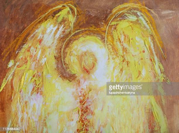 ilustrações de stock, clip art, desenhos animados e ícones de fashionable illustration modern work of art sacred art icon mural my original painting  horizontal gouache pastel fantasy painting a fiery angel of light - angel hot