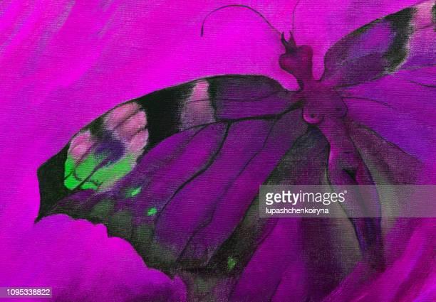 モダンなおしゃれなイラスト仕事シュル レアリスム アートの飛んでいる蝶の形で少女のキャンバスの祭典図に私のオリジナルの油絵