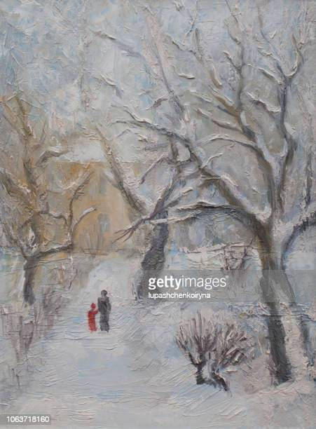 fashionable illustration my oil painting on canvas landscape winter street walking in the snow mom and child among the snow-covered trees - impressionism stock illustrations