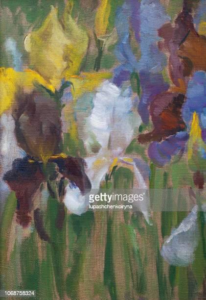fashionable illustration my original oil painting on canvas vertical still life iris flowers - flower arrangement stock illustrations