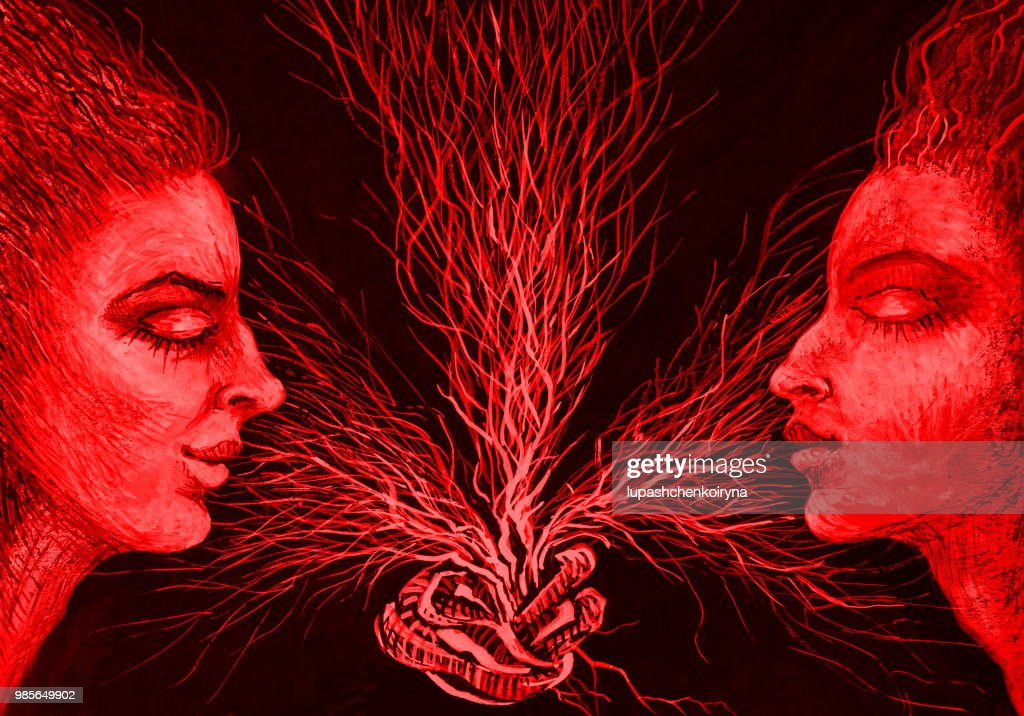 Fashionable illustration of a painting of bisexuality horizontal portrait of two women in red color scheme : stock illustration