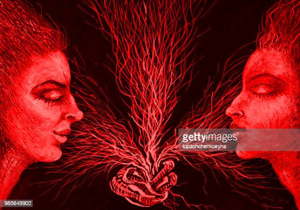 Fashionable illustration of a painting of bisexuality horizontal portrait of two women in red color scheme