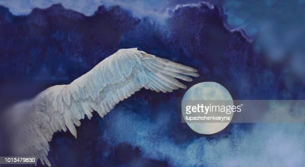 Modieuze illustratie van een kunstwerk landschap schilderij impressionisme aquarel volle maan vliegen vrije vogel