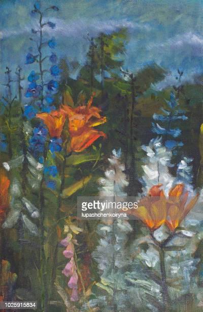 オレンジ花のユリとフィールドの鐘の印象派のスタイルでキャンバス塗料をオリジナル油絵風景のファッショナブルなイラスト - 精油点のイラスト素材/クリップアート素材/マンガ素材/アイコン素材