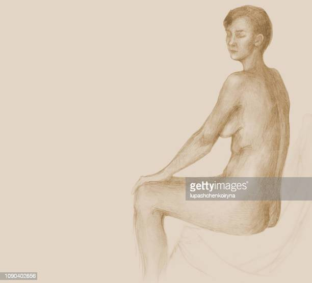 fashionable illustration of the original drawing pencil sepia portrait of a female figure in the style of impressionism - lifestyles stock illustrations, clip art, cartoons, & icons