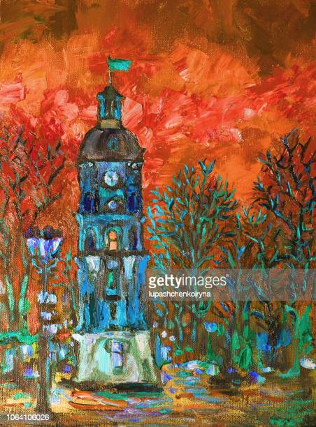 Fashionable illustration original author's oil painting on canvas vertical architectural landscape city street evening lights and sunset
