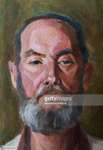 fashionable illustration original work of art my modern painting impressionism vertical portrait of a strict elderly man with a beard - portrait stock illustrations