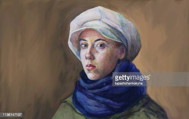 fashionable illustration original work of art painting watercolor horizontal autumnal portrait of a girl tender romantic seductive  with green eyes in a white cap blue woolen scarf and green cloak in classic style - oil painting stock illustrations
