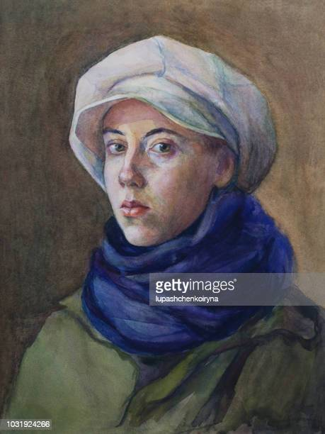 fashionable illustration, original work of art, painting, watercolor, portrait of a girl, female students with green eyes, in a white cap, blue woolen scarf and green cloak, in classic style - the past stock illustrations