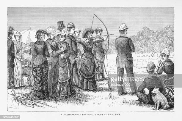Fashionable Pastime – Archery Practice Victorian Engraving, 1879