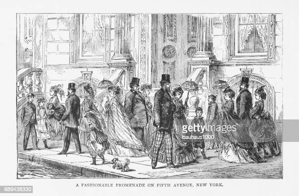 Fashionable Promenade on Fifth Avenue, New York Victorian Engraving, 1879