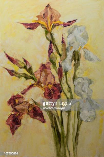 fashionable spring illustration allegory modern artwork impressionism my original oil painting on canvas impressionism vertical shaped symbolic landscape blooming white and red irises in the rays of sunlight - impressionism stock illustrations