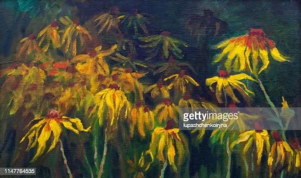 ファッショナブルな夏のイラストの花モダンアートのキャンバス印象派の私のオリジナルの油絵水平の静物ルドベキア hirta 花壇に咲く - アルニカ点のイラスト素材/クリップアート素材/マンガ素材/アイコン素材