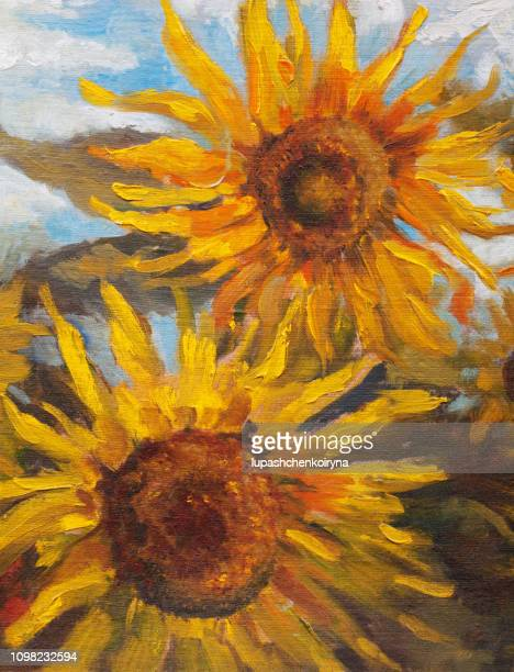 ilustrações de stock, clip art, desenhos animados e ícones de fashionable summer illustration modern art work my original oil painting on canvas still life two blooming large yellow sunflower against the background of green stalks of plants and a bright blue sky - girassol