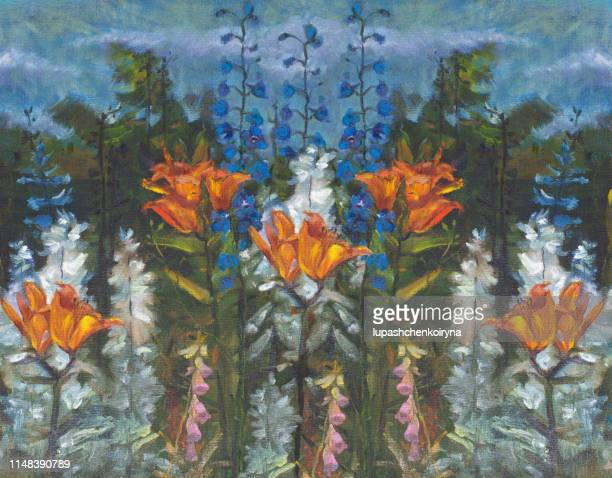 fashionable summer illustration modern art work my original oil painting on canvas impressionism fantasy horizontal landscape blooming in a flowerbed garden plants lilia orange planet and bells of different colors - impressionism stock illustrations