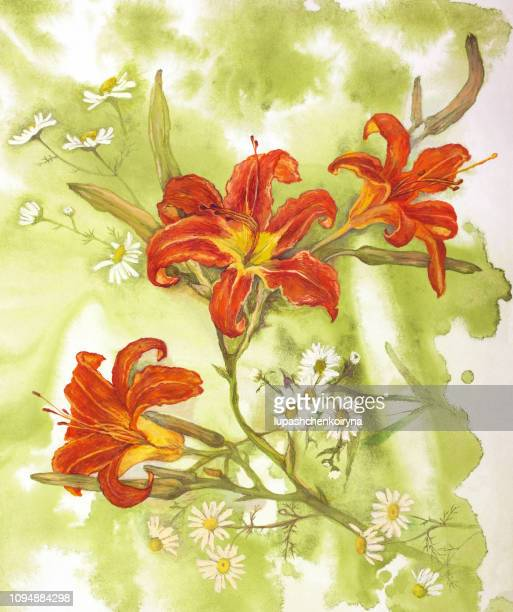 Fashionable summer illustration modern artwork in the style of impressionism my original painting with watercolors on paper vertical still life flowers white field daisies and red lilies