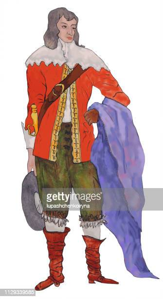 Fashionable summer illustration modern artwork my original painting with watercolors on baroque paper portrait figure of a young handsome middle-aged dandy man in a historical costume with a raincoat in boots and light shirt with a lace collar