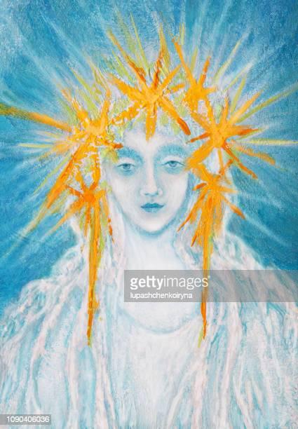 bildbanksillustrationer, clip art samt tecknat material och ikoner med fashionabla vintern illustration ursprungliga religiösa konstverk min moderna oljemålning på duk porträtt av en jul-ängel - prayer pose greeting