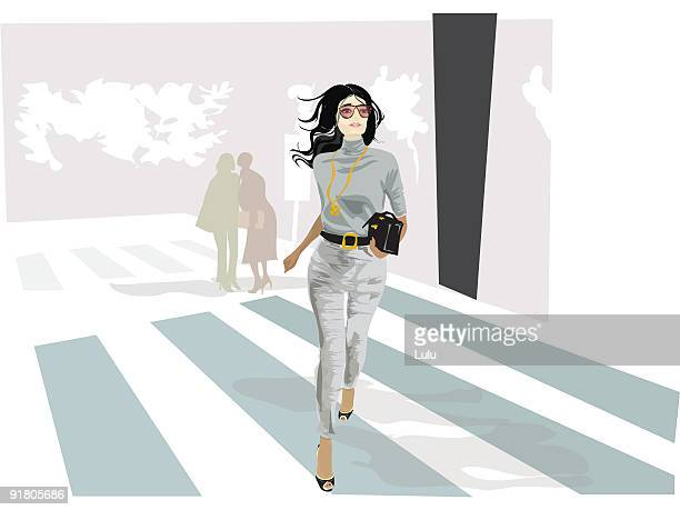 a fashionable woman crossing a street - zebra crossing stock illustrations