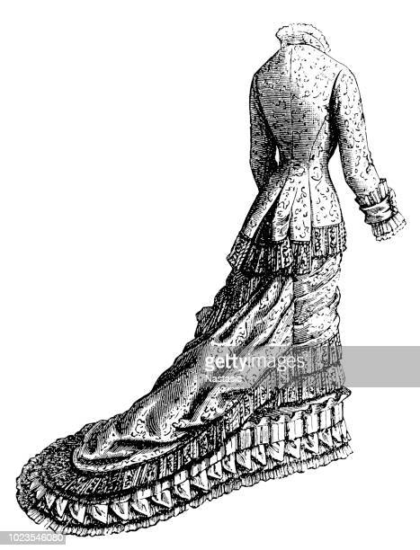 ファッショナブルな女性のドレス-ビクトリア朝彫刻 - updo点のイラスト素材/クリップアート素材/マンガ素材/アイコン素材