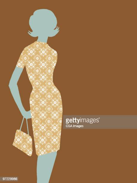 fashionable woman - old fashioned stock illustrations