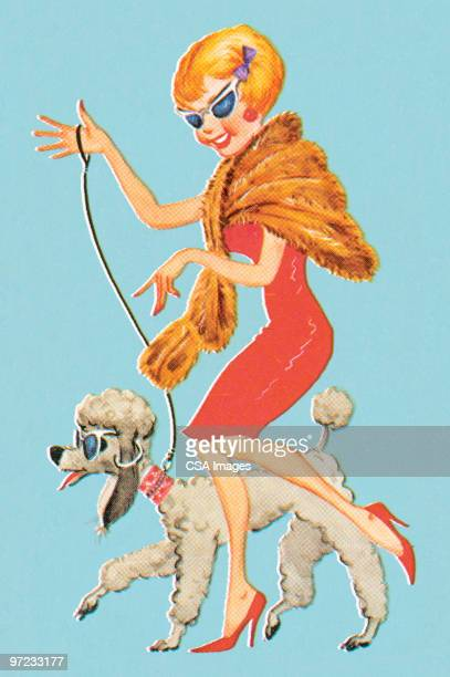 fashionable woman with dog - old fashioned stock illustrations