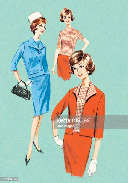 fashionable women - old fashioned stock illustrations